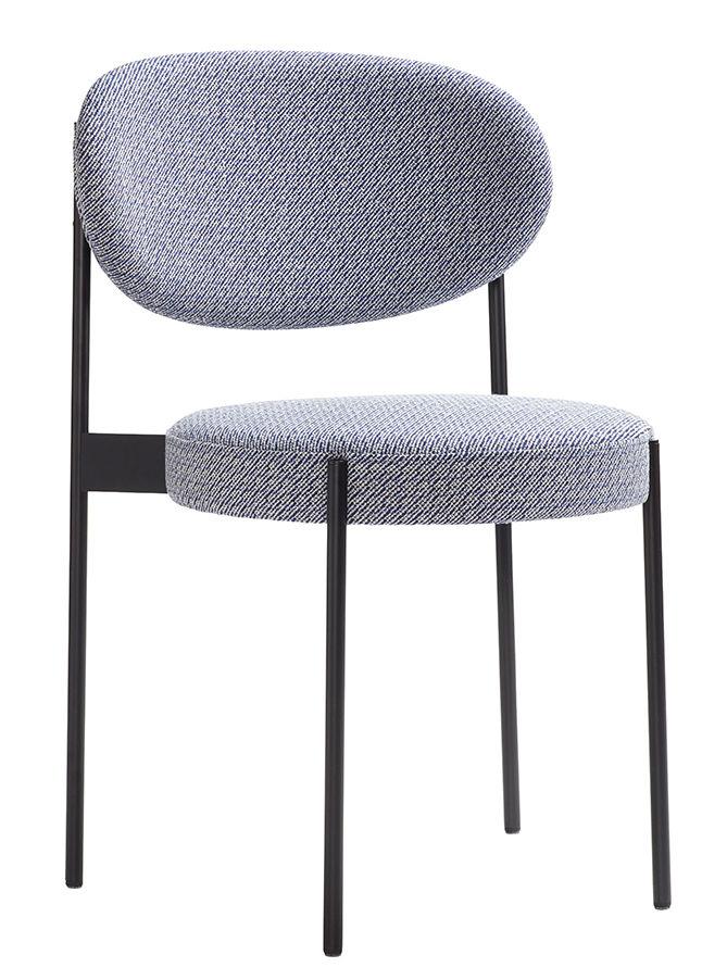 Mobilier - Chaises, fauteuils de salle à manger - Chaise rembourrée Series 430 / Empilable - Tissu - Verpan - Tissu / Gris Noise - Acier inoxydable, Mousse, Tissu Kvadrat