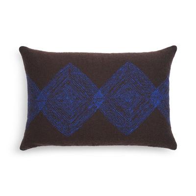 Interni - Cuscini  - Cuscino Linear Diamond - / 60 x 40 cm di Ethnicraft - Marrone / motivi Blu - Piume d'anatra, Tissu Oeko-Tex