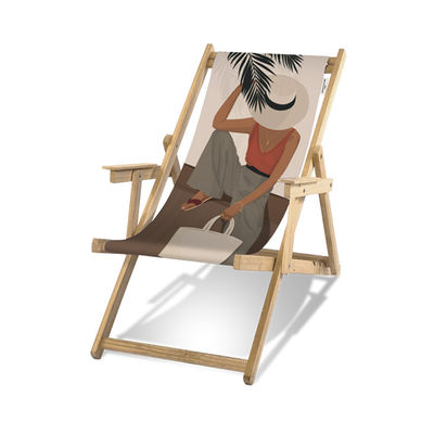 Outdoor - Sun Loungers & Hammocks - Flamenco Deckchair - / With armrests by PÔDEVACHE - Woman with hat / Multicoloured - Eucalyptus wood, Polyester cloth