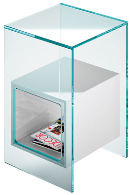 Furniture - Coffee Tables - Magique End table by FIAM - Stucture : Transparent - Container : White - Glass