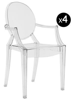 Mobilier - Chaises, fauteuils de salle à manger - Fauteuil empilable Louis Ghost / Lot de 4 - Kartell - Cristal - Polycarbonate