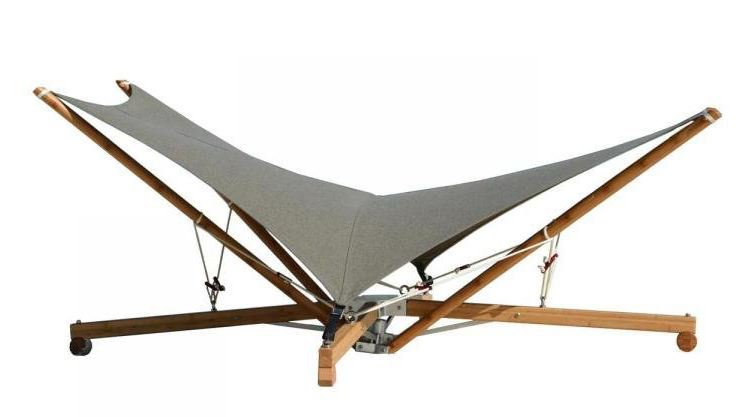 Outdoor - Sun Loungers & Hammocks - Kajito Bambou Folding sunlounger by Cacoon - Grey & white / Bamboo -  Toile Olefin, Bamboo