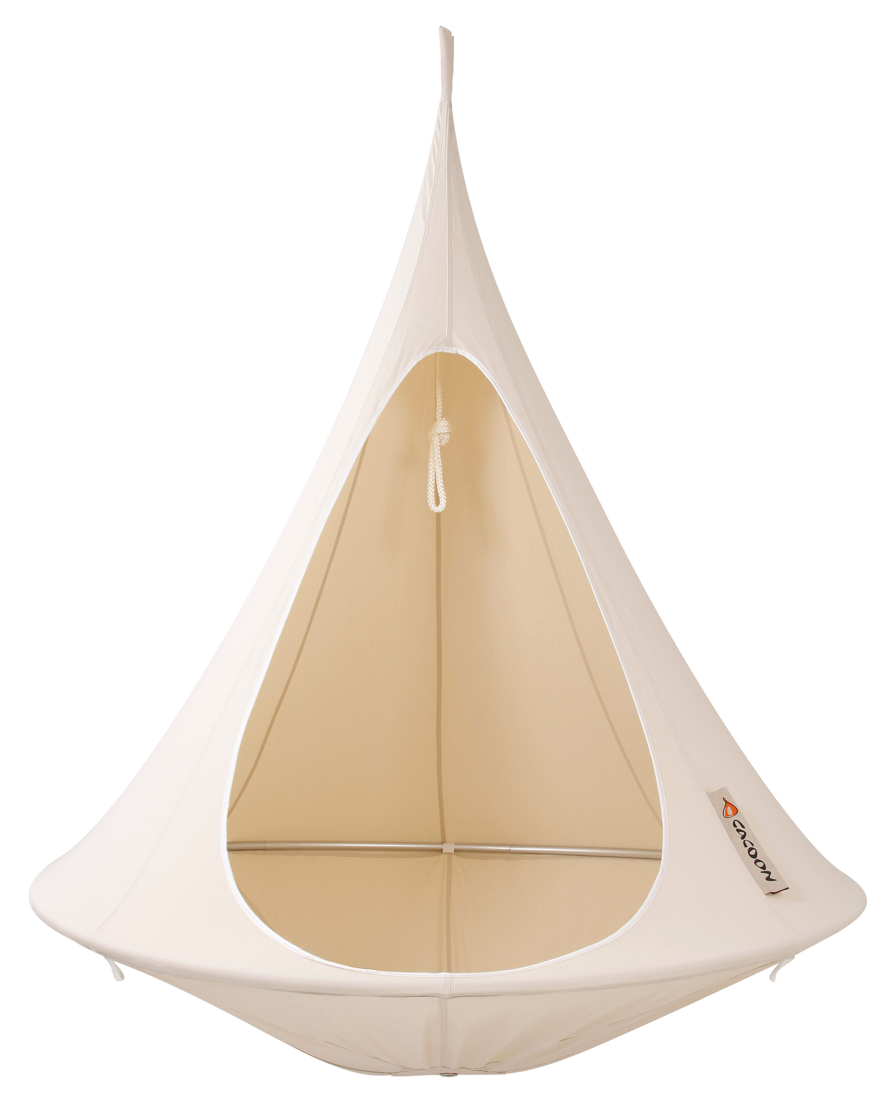 Outdoor - Sun Loungers & Hammocks - Hanging tent - Single Hanging chair by Cacoon - Natural white - Anodized aluminium, Cloth