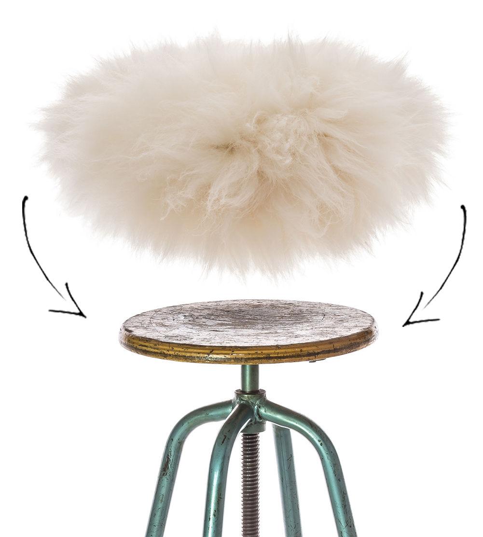 Déco - Coussins - Housse de tabouret Top Moumoute / Peau de mouton véritable - FAB design - Poils courts / Blanc - Peau de mouton