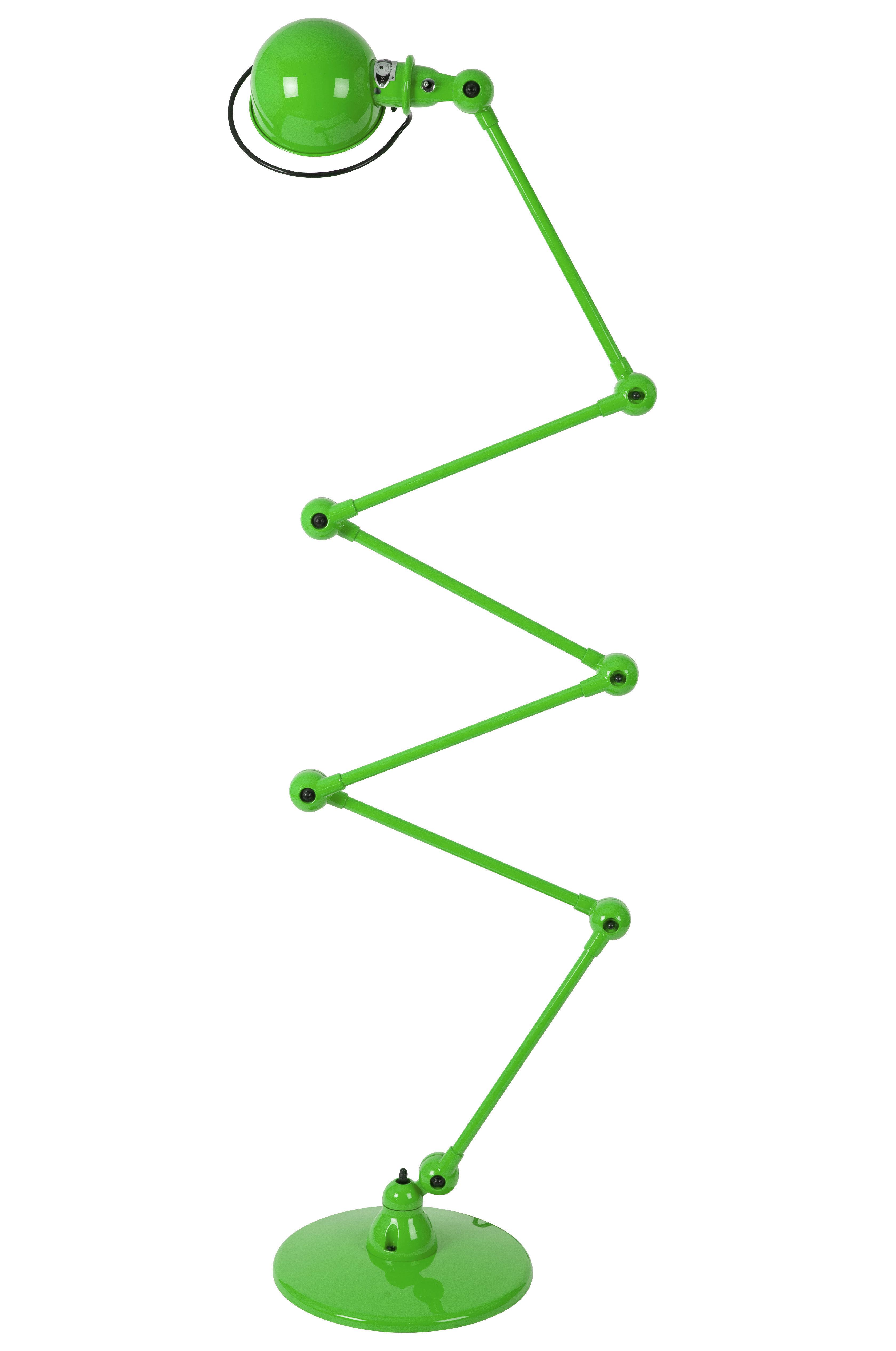 Illuminazione - Lampade da terra - Lampada a stelo Loft Zigzag - 6 bracci articolati - H max 240 cm di Jieldé - Verde mela brillante - Acciaio inossidabile