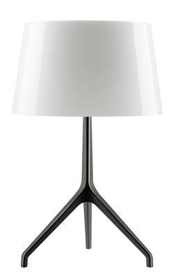 Luminaire - Lampes de table - Lampe de table Lumière XXL / H 57 cm - Foscarini - Blanc / Pied noir chromé - Aluminium verni, Verre soufflé