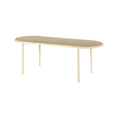 Furniture - Dining Tables - Wooden Oval table - / 210 x 80 cm - Oak & steel by valerie objects - Ivory / Oak - Oak, Steel
