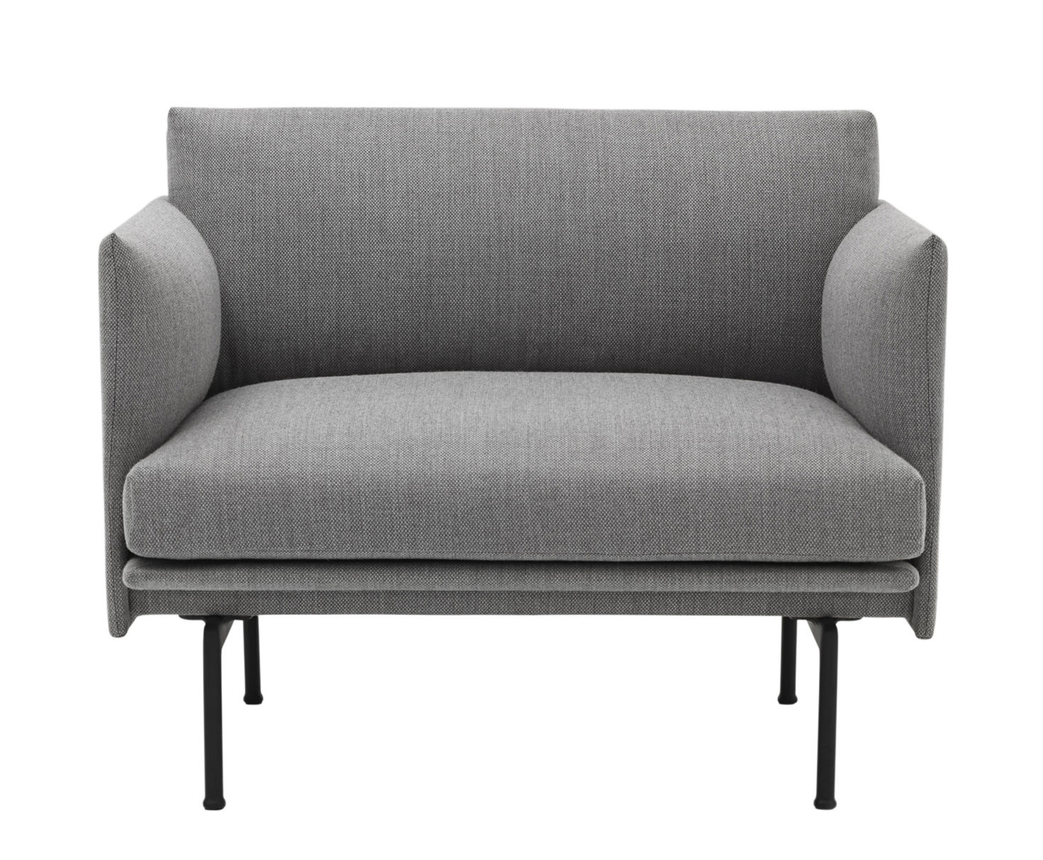 Furniture - Armchairs - Outline Padded armchair - / Fabric by Muuto - Light grey (Fiord fabric) - Fabric, Lacquered aluminium