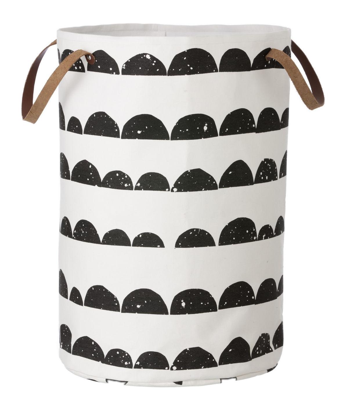 Déco - Paniers et petits rangements - Panier Half Moon Large  / Ø 40 x H 60 cm - Ferm Living - Half moon / Noir & blanc - Coton, Polyester