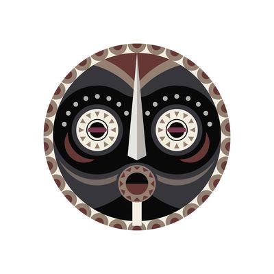 Tableware - Napkins & Tablecloths - Mask Placemat - / Ø 38 cm - Vinyl by PÔDEVACHE - Mask no. 4 / Grey, taupe & beige - Vinal