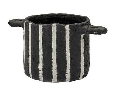 Déco - Pots et plantes - Pot Marie / Papier mâché - Ø 16,5 x H 13,5 cm - Serax - Noir / Rayures verticales -  Papier mâché recyclé