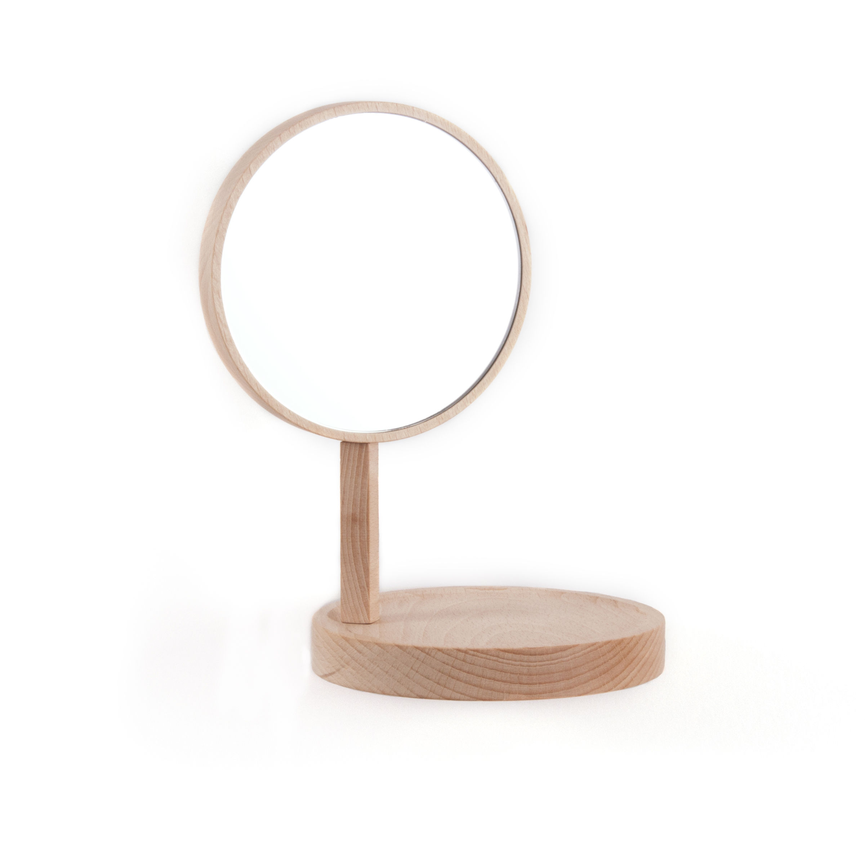 Möbel - Regale und Bücherregale - Belvédère Regal L 20 cm x H 22,5 cm / mit integriertem Spiegel - Moustache - Holz, hell - Buchenfurnier