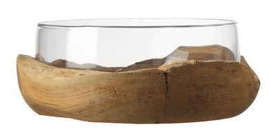 Tischkultur - Salatschüsseln und Schalen - Schale / Sockel aus Teak-Holz - Ø 28 cm - Leonardo - Transparent / holzfarben - Glas, Teakholz