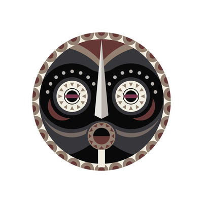 Arts de la table - Nappes, serviettes et sets - Set de table Mask / Ø 38 cm - Vinyle - PÔDEVACHE - Mask n°4 / Gris, taupe & beige - Vinyle