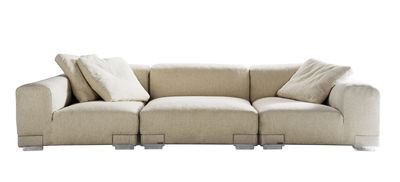 Möbel - Sofas - Plastics Duo Sofa Komposition Nr. 3 - Kartell - Ecru - Gewebe, Polykarbonat