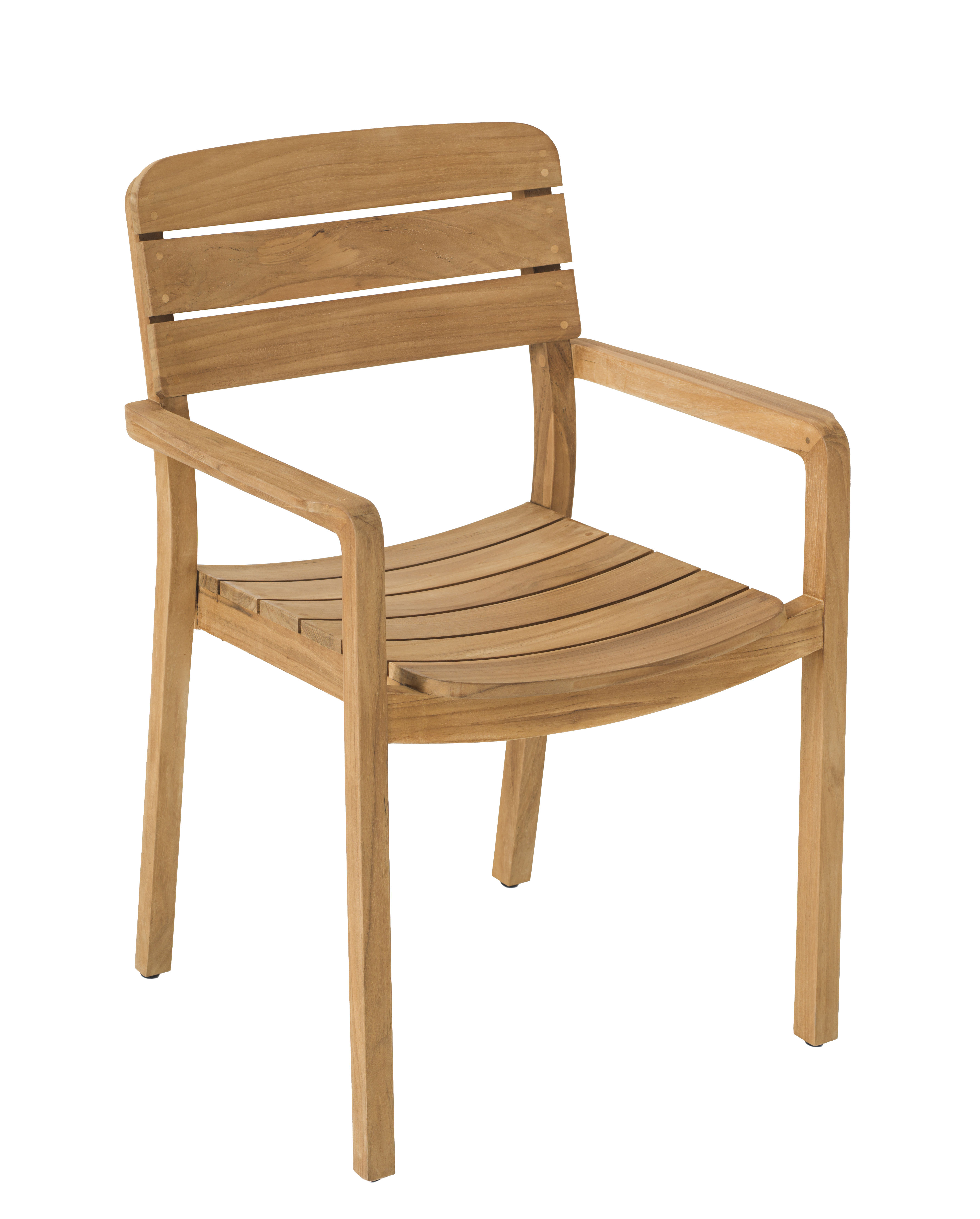 Furniture - Chairs - Lodge Stackable armchair - / Teak by Vlaemynck - Teak - Unoiled teak