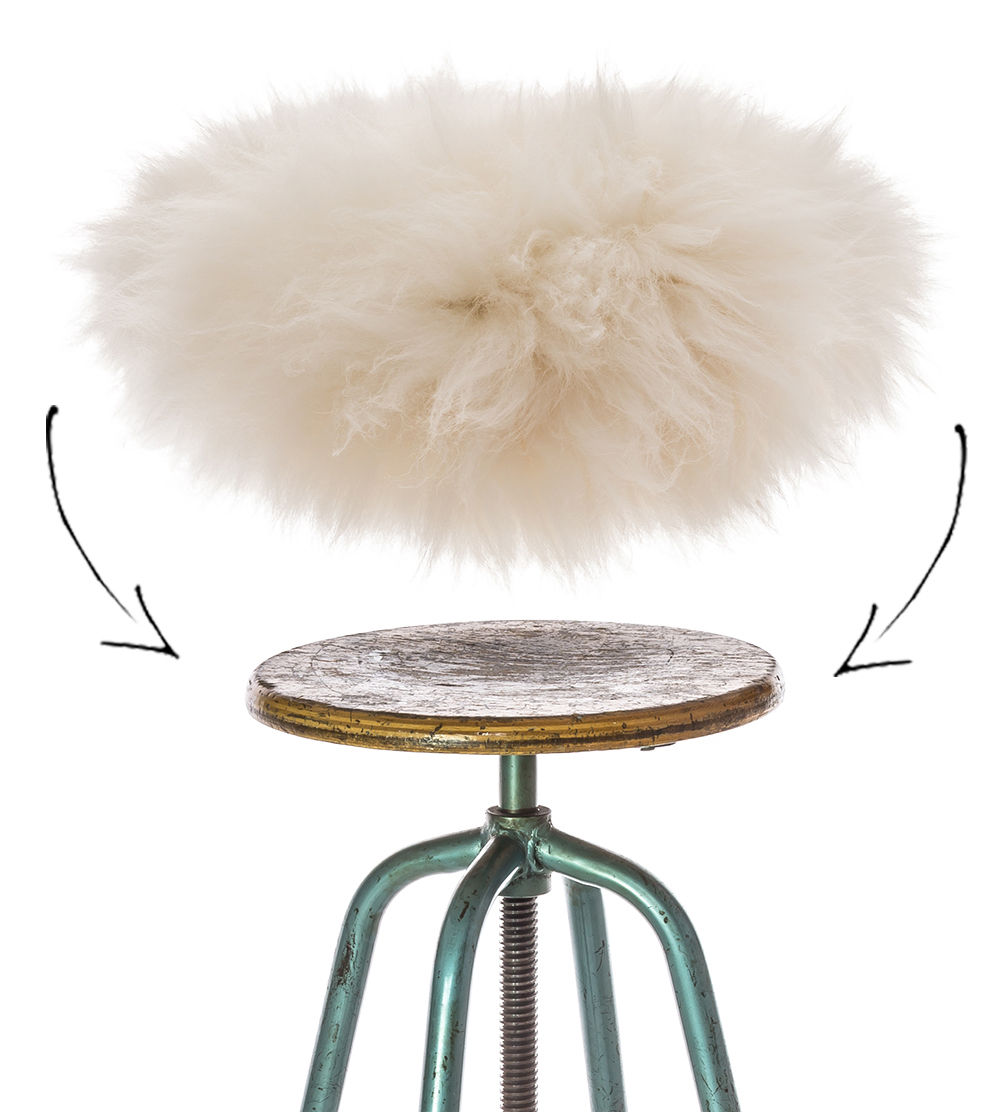 Decoration - Cushions & Poufs - Top Moumoute Stool seat cover by FAB design - White - Sheep skin
