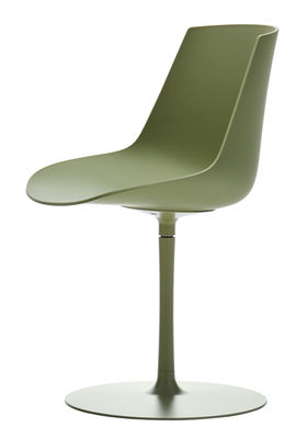 Furniture - Chairs - Flow Color Swivel chair - / Central leg by MDF Italia - Olive - Epoxy aluminium, Polycarbonate