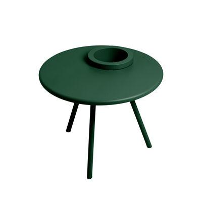 Table basse Bakkes / Ø 60 cm - Pot de fleurs intégré / Acier - Fatboy vert émeraude en métal