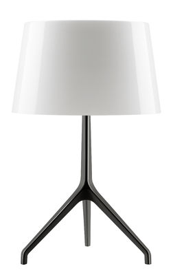 Lighting - Table Lamps - Lumière XXL Table lamp - H 57 cm by Foscarini - White / Black chromed feet - Blown glass, Varnished aluminium