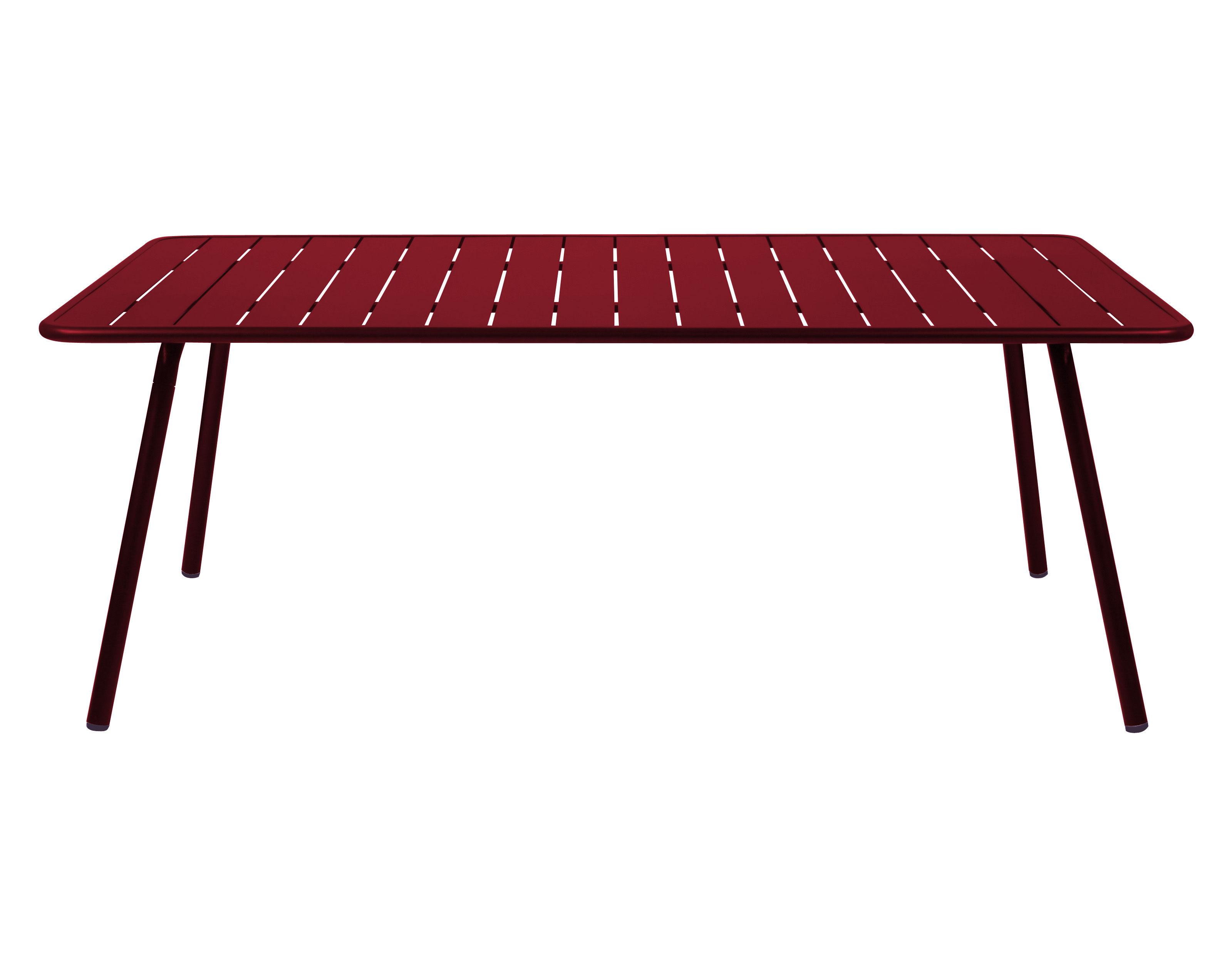 Table rectangulaire Luxembourg / 8 personnes - 207 x 100 cm - Aluminium - Fermob rouge en métal