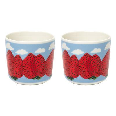 Arts de la table - Tasses et mugs - Tasse à café Mansikkavuoret / Sans anse - Set de 2 - Marimekko - Mansikkavuoret / Blanc, rouge, bleu - Grès