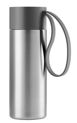 Tischkultur - Tassen und Becher - To Go Cup Thermobecher / thermoisoliert - 0,35 l - Eva Solo - Gebürsteter Stahl / Schlaufe grau - rostfreier Stahl, Silikon