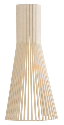 Lighting - Wall Lights - Secto L Wall light with plug - / H 60 cm by Secto Design - Natural birch - Birch slats