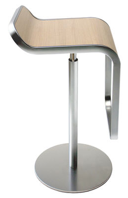 Furniture - Bar Stools - Lem Adjustable bar stool - Pivoting wood seat by Lapalma - Blanched oak - Bleached oak plywood, Chromed steel