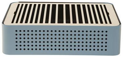 Outdoor - Barbecues et braséros - Barbecue portable à charbon Mon Oncle / 44 x 32 cm - RS BARCELONA - Bleu - Acier inoxydable peint, Cuir, Tissu