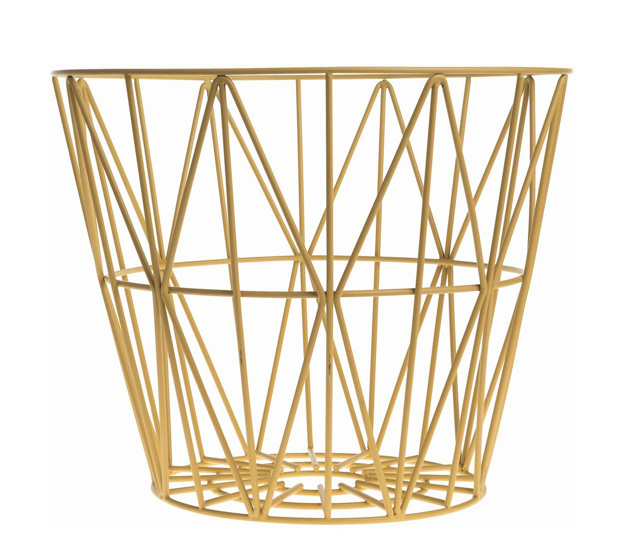 Decoration - For bathroom - Wire Small Basket - Ø 40 x H 35 cm by Ferm Living - Yellow - Lacquered wire