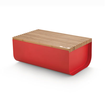 Tableware - Storage jars and boxes - Mattina Bread box - / Steel & bamboo - 34 x 21 cm by Alessi - Red / Bamboo - Bamboo, Steel