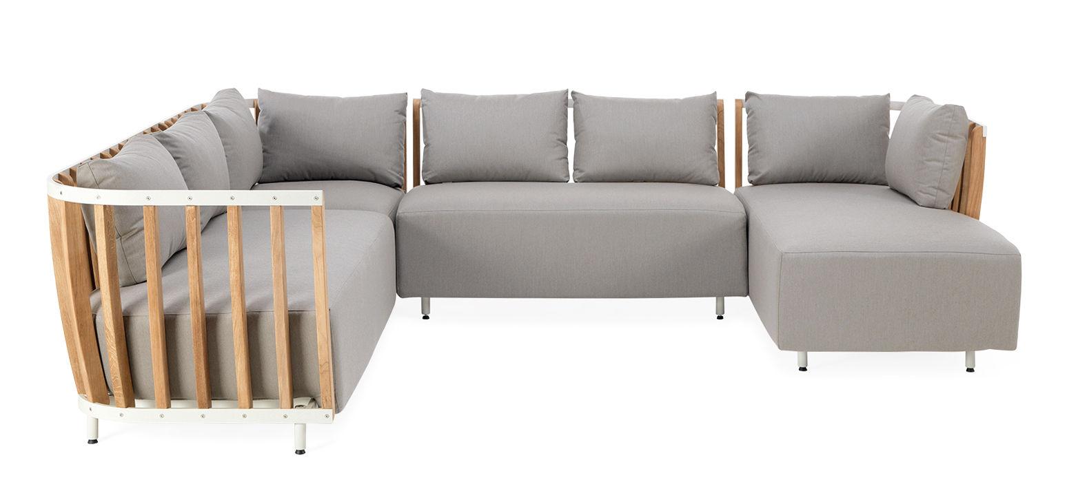 Mobilier - Canapés - Canapé modulable Swing / 4 modules - Ethimo - Blanc & teck / Tissu gris - Aluminium laqué, Mousse, Teck naturel, Tissu acrylique