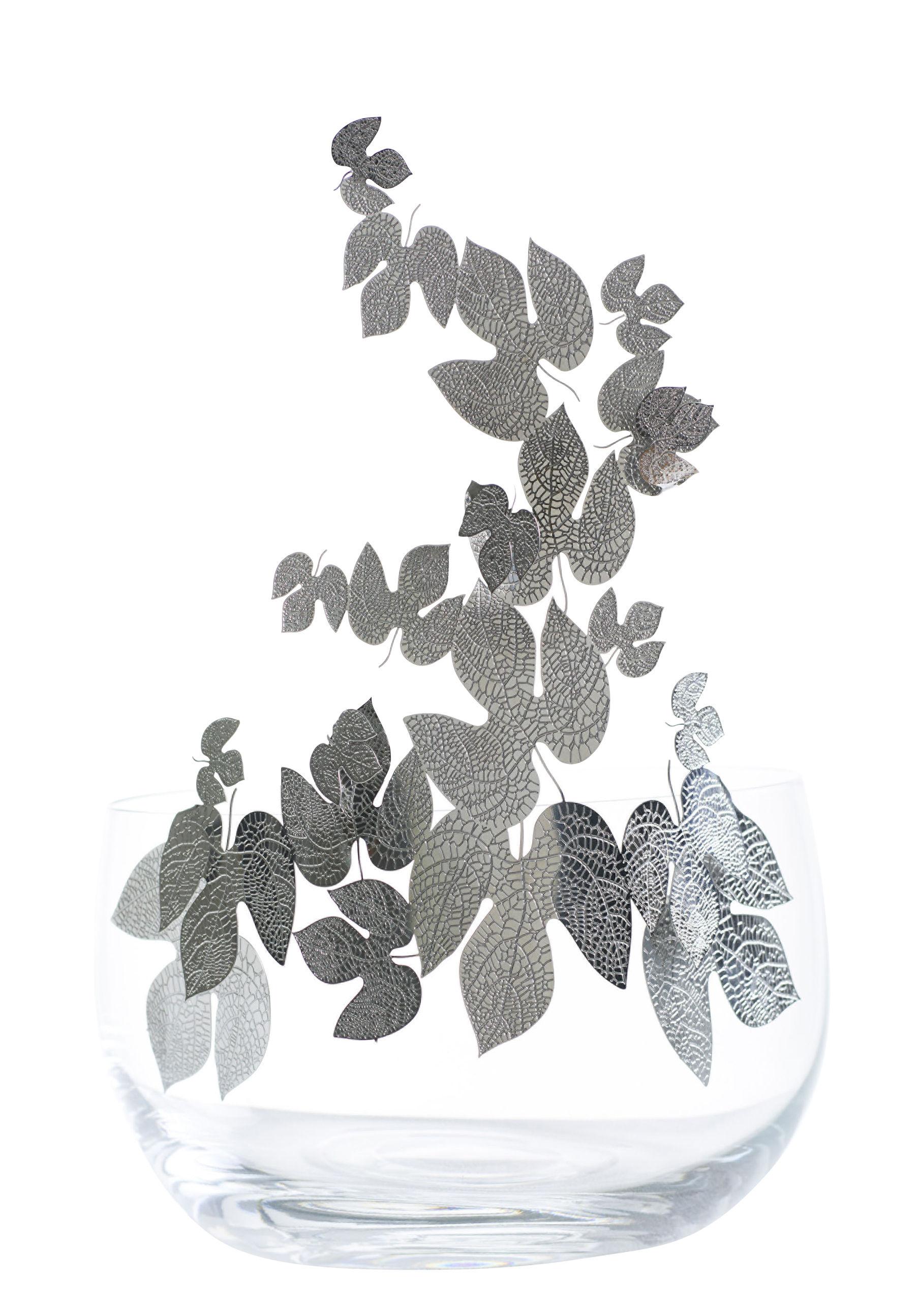 Arts de la table - Corbeilles, centres de table - Centre de table Frutteti Feuilles / Cristal & acier - Ø 21 cm - Opinion Ciatti - Feuilles / Argent - Acier inoxydable, Cristal de Bohême