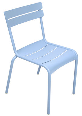 Life Style - Chaise empilable Luxembourg / Aluminium - Fermob - Bleu fjord - Aluminium laqué