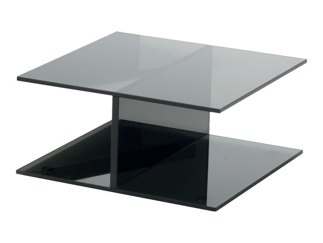 Möbel - Couchtische - I-Beam Couchtisch - Glas Italia - 60 x 60 cm - Rauchkristallglas - Cristal trempé