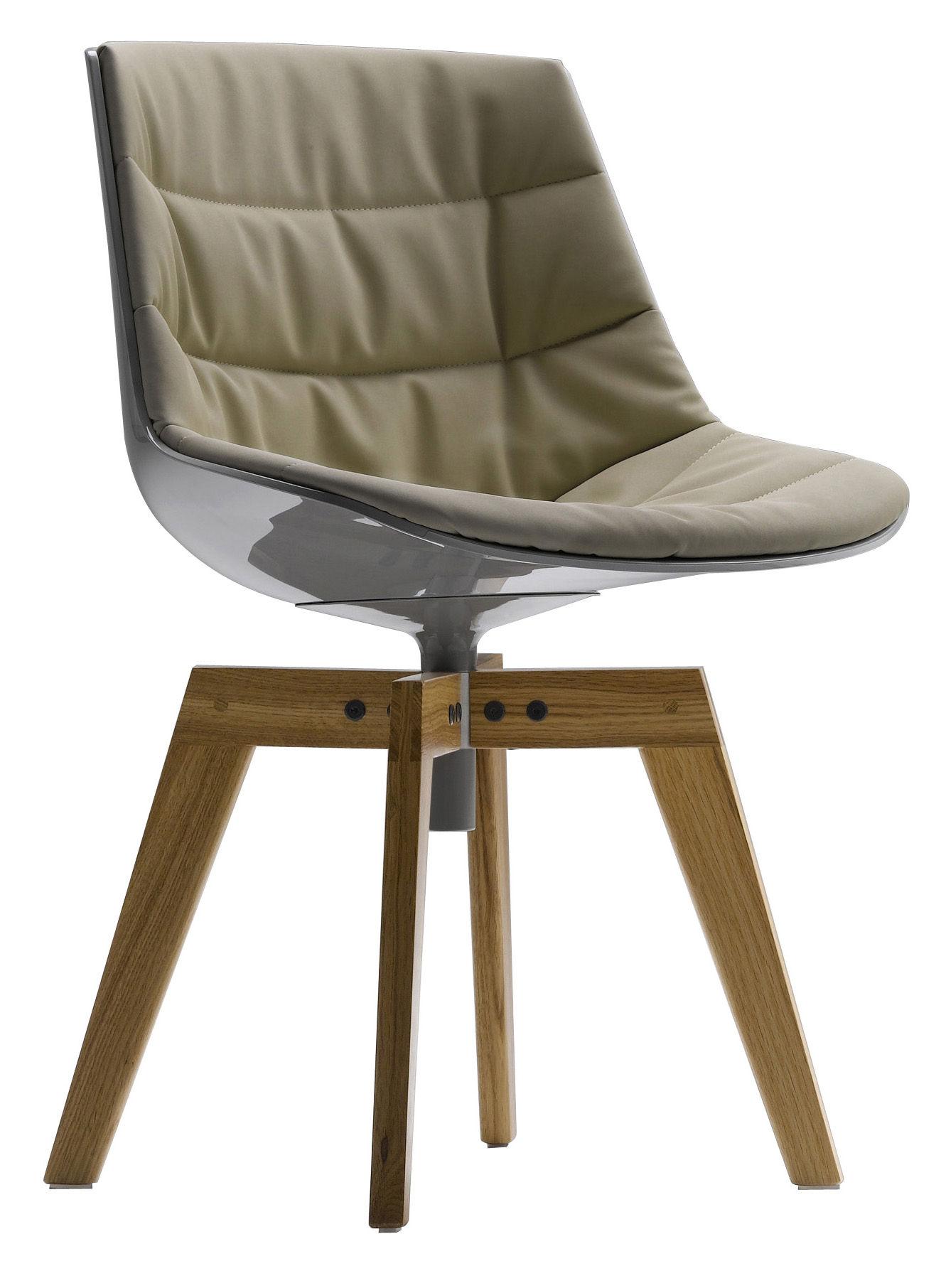 Möbel - Stühle  - Flow Drehstuhl Füße aus Eiche - MDF Italia - Weiß glänzend & Polsterung beige / Füße Eiche - lackierter Stahl, Polykarbonat, Textil