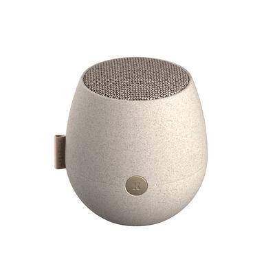Tendances - Stay home - Enceinte Bluetooth portable aJAZZ CARE / Ø 10 x H 11 cm - Kreafunk - Gris moucheté - Fibre de paille de blé, Plastique, Tissu polyester recyclé