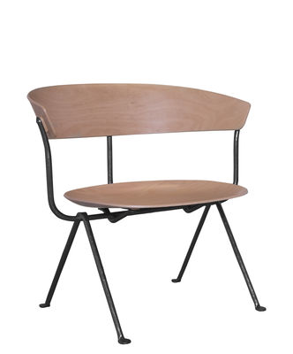 fauteuil bas officina bois h tre naturel structure noire magis made in design. Black Bedroom Furniture Sets. Home Design Ideas