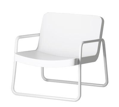 Mobilier - Fauteuils - Fauteuil bas Time out / Empilable - Serralunga - Blanc / Structure blanche - Métal laqué, Polyéthylène