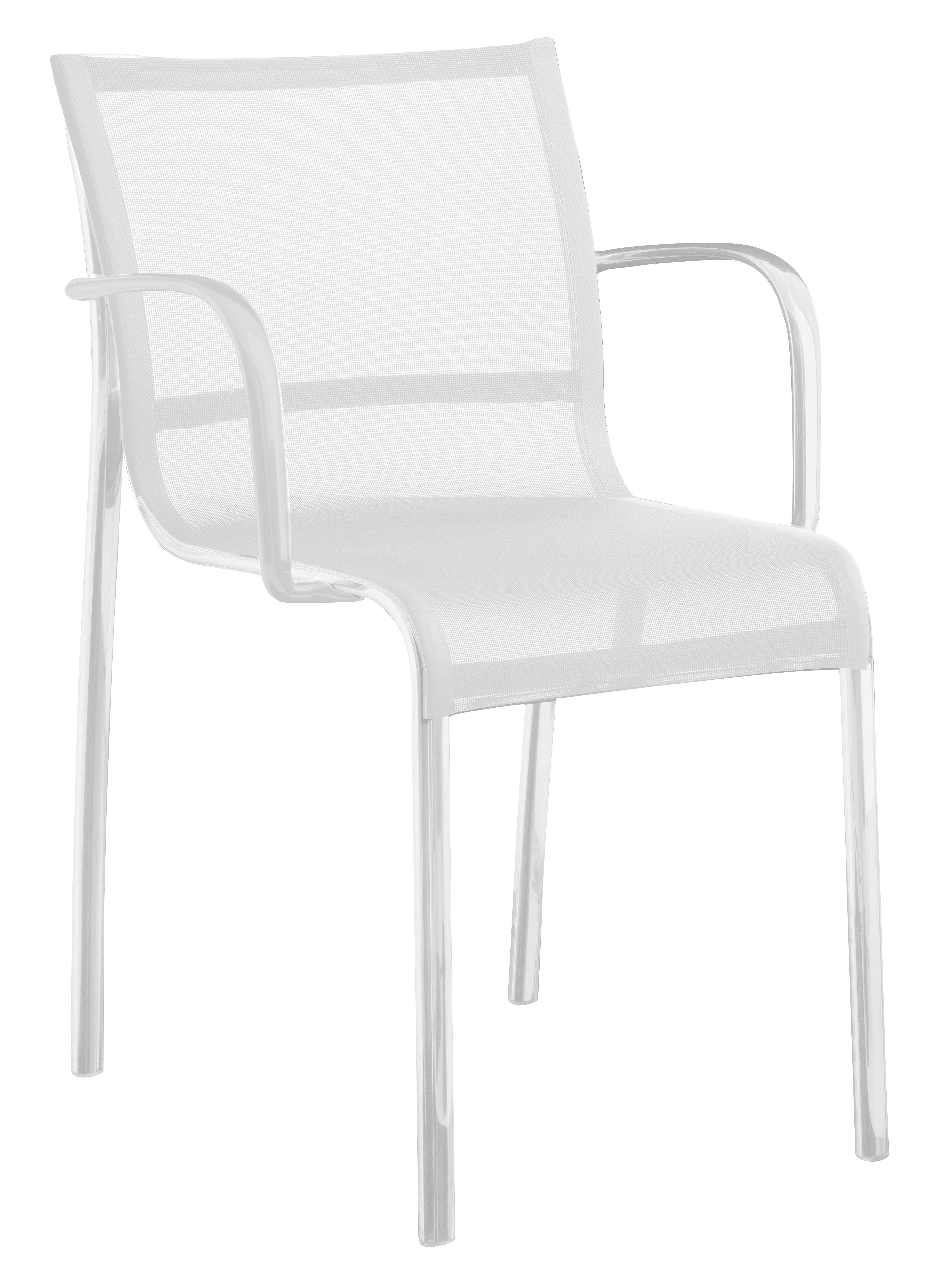 Mobilier - Chaises, fauteuils de salle à manger - Fauteuil empilable Paso Doble / Toile - Magis - Blanc / structure blanche - Aluminium verni, Toile