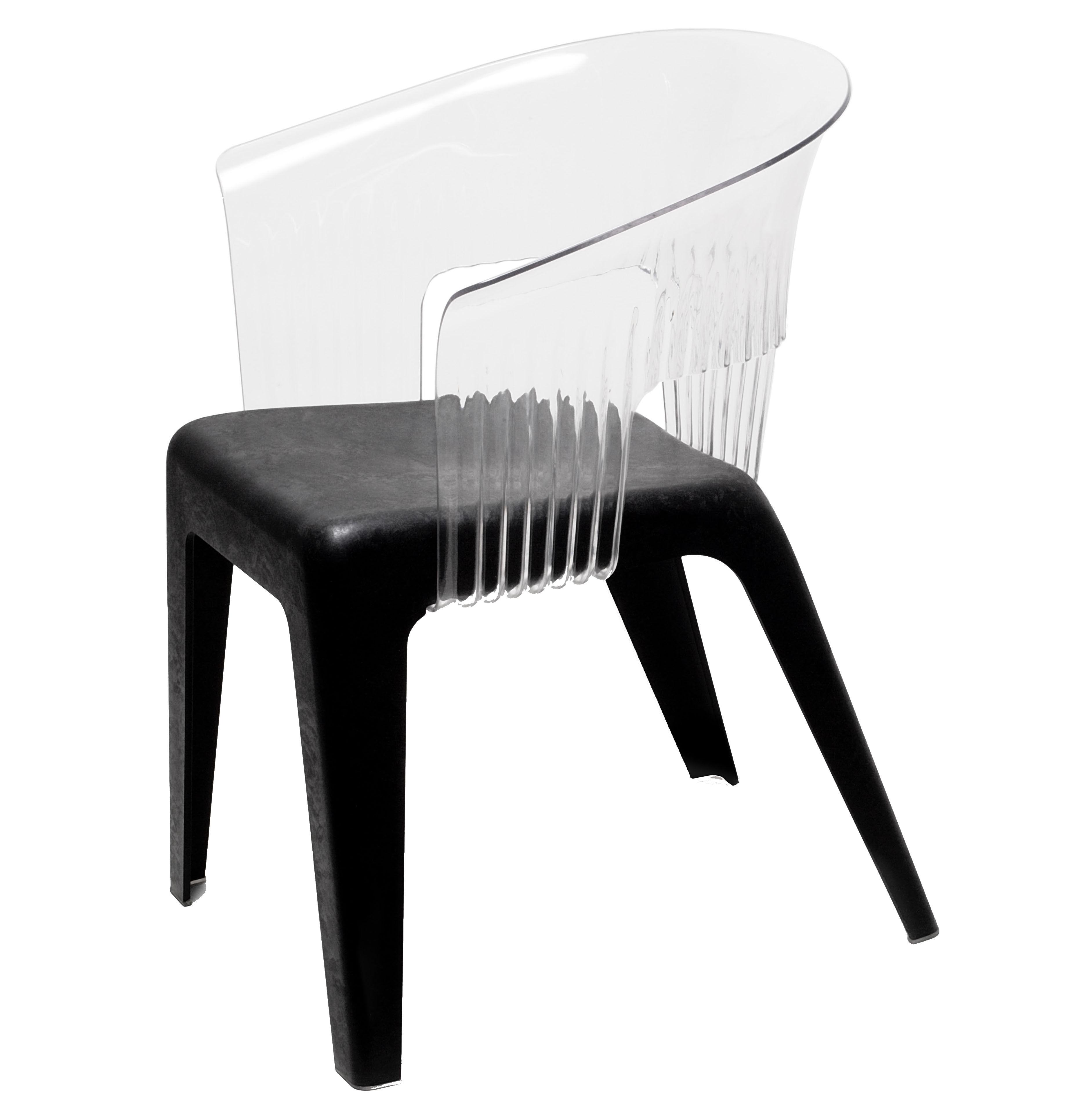 Mobilier - Chaises, fauteuils de salle à manger - Fauteuil Madeira / Dossier transparent - Skitsch - Dossier transparent - Assise noire - Fibres de bois, Polycarbonate, Polypropylène