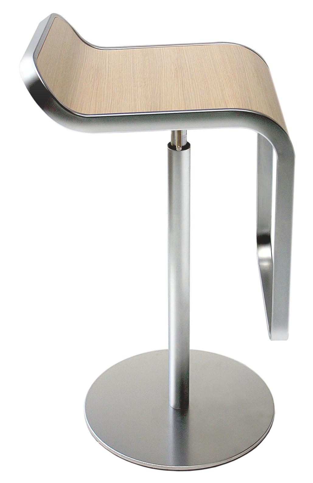 Möbel - Barhocker - Lem Höhenverstellbarer Barhocker - Lapalma - Gebleichte Eiche - gebleichtes Eichensperrholz, verchromter Stahl