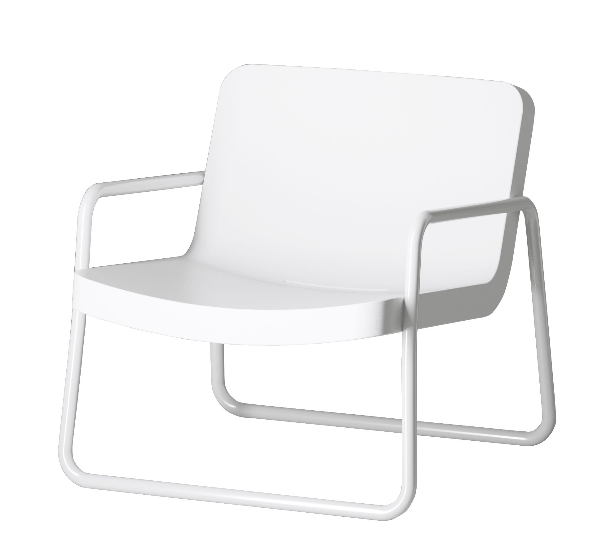 Möbel - Lounge Sessel - Time out Lounge Sessel / stapelbar - Serralunga - Weiß / Gestell weiß - lackiertes Metall, Polyäthylen