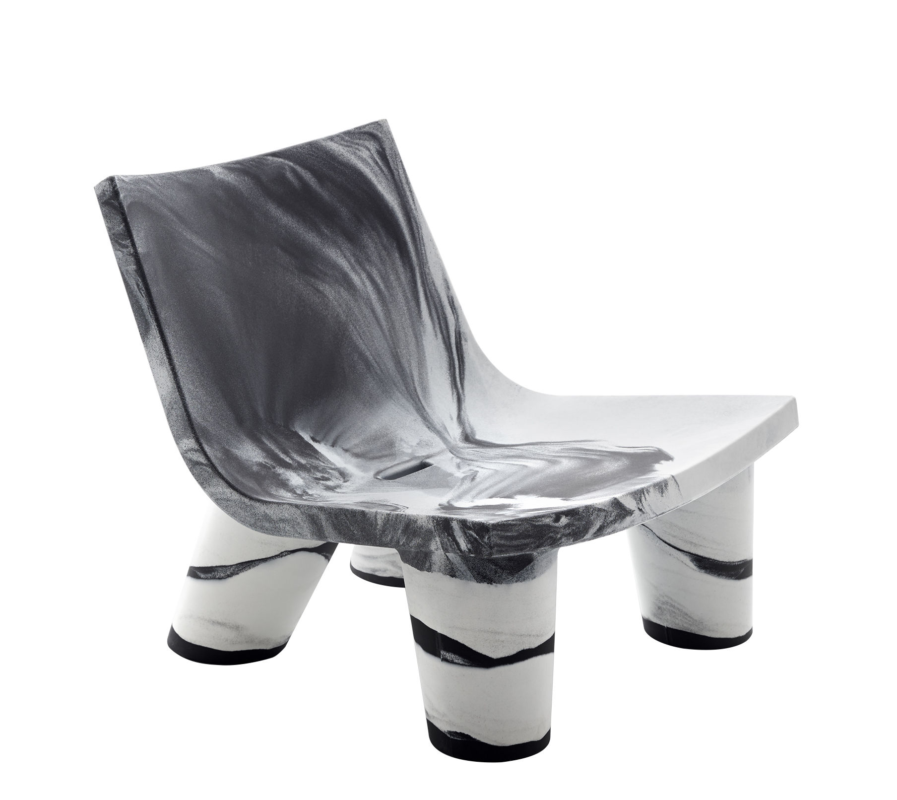 Furniture - Armchairs - Low Lita Low armchair - / 10-year limited edition by Slide - Black & white - recyclable polyethylene
