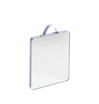Déco - Miroirs - Miroir mural Ruban Small / L 10 x H 12 cm - Hay - Rayures bleues - Contreplaqué de chêne, Laiton, Tissu polyester, Verre
