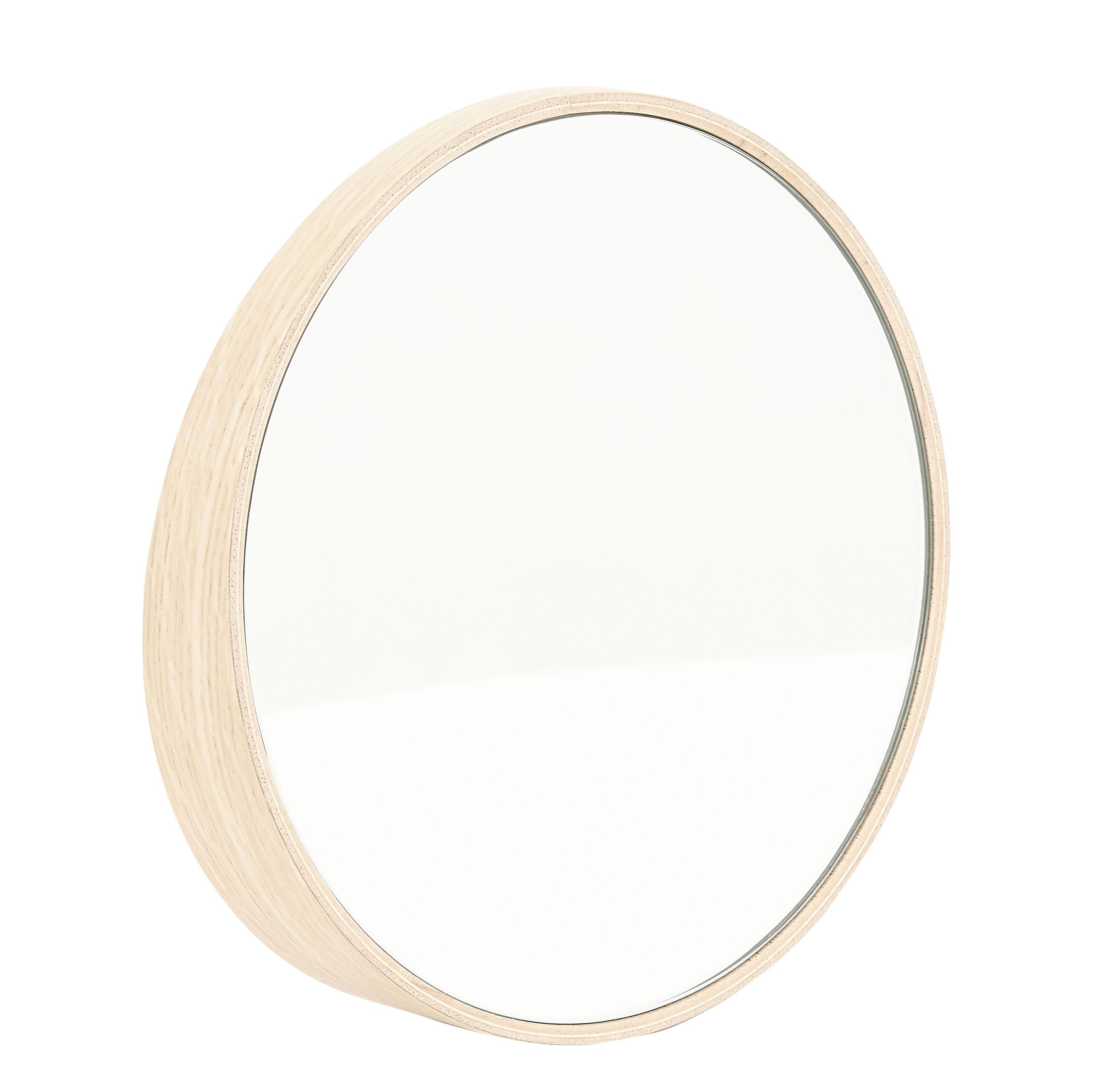 Déco - Miroirs - Miroir Odilon XL / Ø 80 cm - à poser ou suspendre - Hartô - Chêne - MDF plaqué chêne, Verre