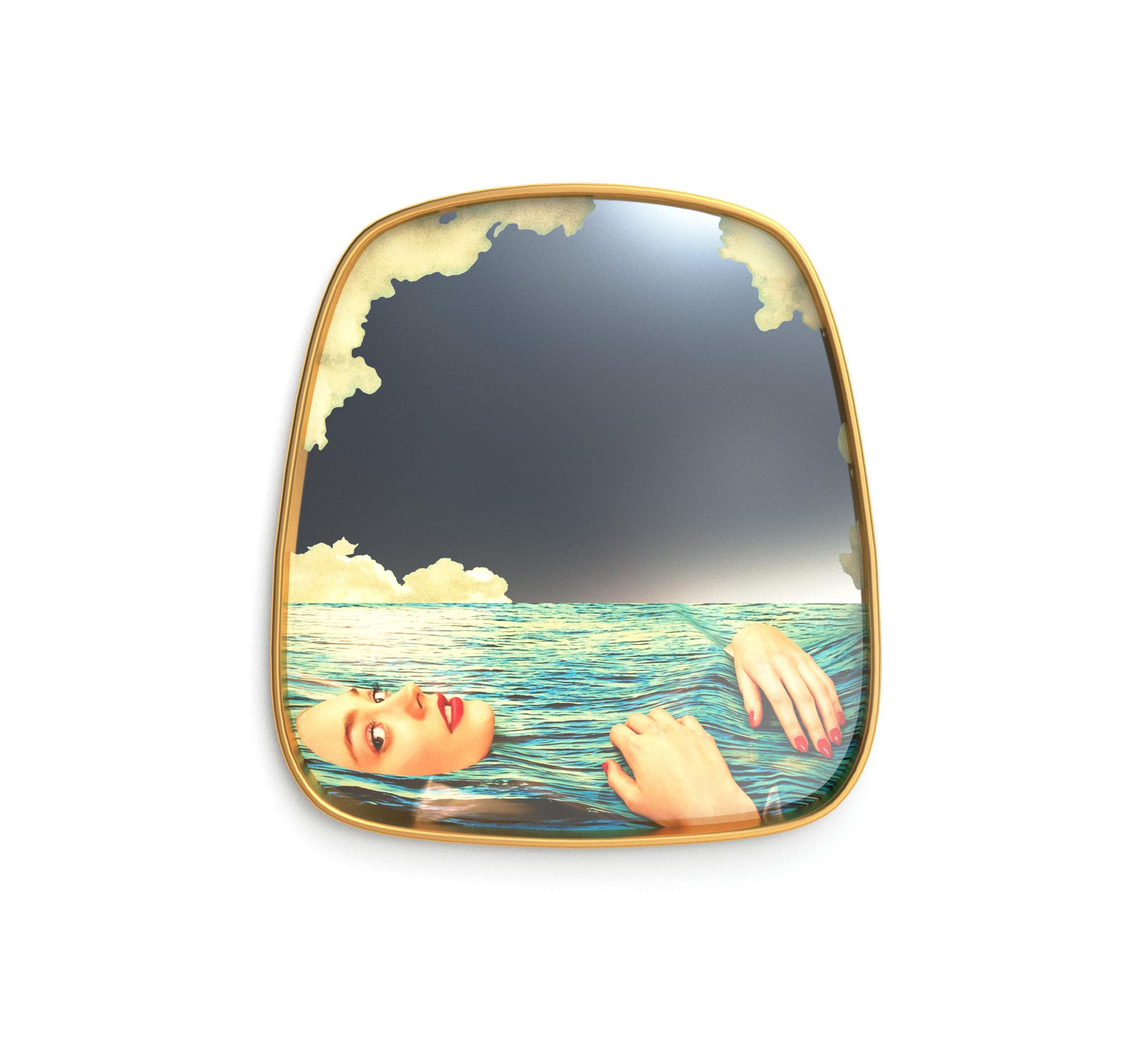 Decoration - Mirrors - Toiletpaper Mirror - / Sea Girl - 54 x 59 cm by Seletti - Sea Girl / Brass frame - Brass, Glass, MDF