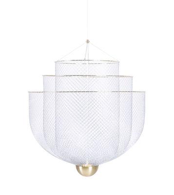 Lighting - Pendant Lighting - Meshmatics Small LED Pendant - / Ø 58 cm - With mesh by Moooi - Small / Steel & brass - Brass, Galvanised steel mesh