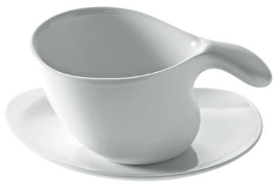 Tavola - Tazze e Boccali - Piattino sottotazza - Per tazza da caffé o té Bettina di Alessi - Bianco - Porcellana